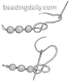 Pearl knotting is traditionally done with silk thread, placing a knot between each bead to prevent them from rubbing against each other. Gently pre-stretch the silk by pulling it inch by inch through your thumb and forefinger. Silk thread generally comes with a needle attached. Use this needle to string a bead, then form a…