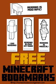 Minecraft Free Printable Bookmarks, plus reading logs and book reports.