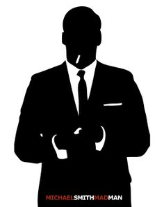 Mad Men 1960's Silhouette, Don Draper, Man, Suite, Personalized, Custom, 8x10 Art Print by NestedExpressions, $15.00