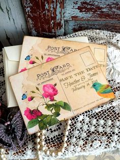 Wedding Save the Date Card Vintage Postcard by AVintageObsession, $39.50
