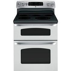 GE 30-in Smooth Surface 5-Element 2.2 cu ft/4.4 cu ft Double Oven Electric Range (Stainless Steel)