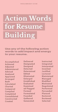 Action Words for Resume Building - Resume Template Ideas of Resume Template - Resume TIP: Action Words for Resume Building Resume Tips for 2020 Resume Advice, Resume Writing Tips, Resume Help, Resume Skills, Job Resume, Writing Skills, Basic Resume, Resume Ideas, Career Advice