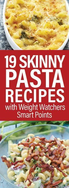 19 Skinny Pasta Recipes with Weight Watchers Smart Points including Macaroni and Cheese, Greek Penne Pasta, Lasagna, Baked Spaghetti, Linguine, Pasta Shells, Fettuccine Alfredo, Chicken Cacciatore, Japanese Stir Fry, Carbonara, and more!