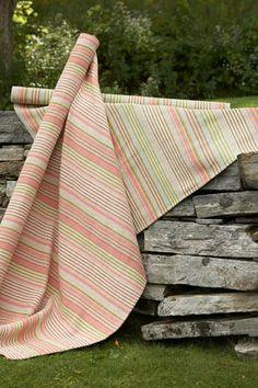 #DashAndAlbert Ana Aqua Ticking Woven Cotton Rug
