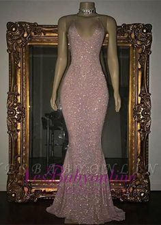 Shiny Blushing Pink Prom Dresses Sequins V-Neck Sleeveless Mermaid Evening Gowns | Yesbabyonline.com