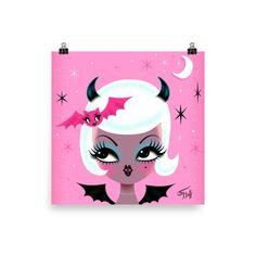 Pinup Halloween, Miss Fluff, Cute Bat, Frame Sizes, Vintage Barbie, Artist At Work, All Print, Fascinator, Pretty Girls