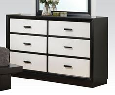 Debora Six Drawer Dresser in Black/White by Acme Furniture Want a European bedroom that looks modern then the Debora Six Drawer Dresser by Acme Furniture is a White Bedroom Set, Bedroom Sets, European Bedroom, Six Drawer Dresser, White Chests, Acme Furniture, Bedroom Dressers, High Quality Furniture, Italian Style
