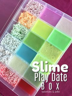 How to make a travel slime travel box. Fill the box with your child's favori… How to make a travel slime travel box. Fill the box with your child's favorite slime so they can transport their slime and to play with and show it off! Diy Crafts Slime, Slime Craft, Slime Box, Le Slime, Slimy Slime, Slime Containers, Pretty Slime, Slime And Squishy, Slime Shops