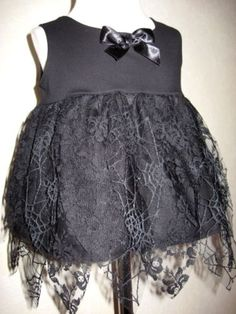 Mini Goth,Witchy Baby Girls  Black Web Lace Top/Dress, Gorgeous!!