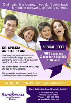 Call Dr. Spilikia today to take advantage of our free dental exam and x-ray which is on offer for a limited time. Call today 267-463-2777! #DentalCare #FreeDentalExam