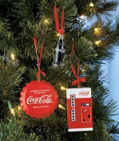 set of 3 coca cola ornaments