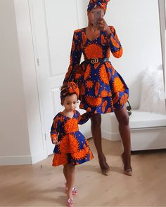 lou and her daughter are super charming in their matching outfits / heads .lou and her daughter are super adorable in their matching outfits/head wraps 😍? African Dresses For Kids, African Print Dresses, African Print Fashion, African Fashion Dresses, Ankara Fashion, African Outfits, Ankara Styles For Kids, Africa Fashion, African Prints