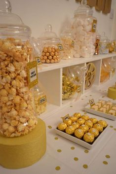 Golden treats at a Hollywood Oscars movie night  party! See more party planning ideas at CatchMyParty.com!