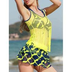 DressLily - Dresslily Halter Neck Underwire Four Piece Printed Bathing Suit - AdoreWe.com