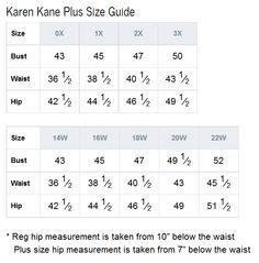 Spense plus size chart brand name plus size charts pinterest