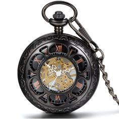 JewelryWe Half Hunter Pocket Watch with Chain Black Dial Steampunk... ($13) ❤ liked on Polyvore featuring jewelry, watches, accessories, chain pocket watch, chain jewellery, steam punk pocket watches, steam punk watches and pocket watch
