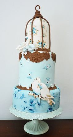 bird cage cake from Nevie-Pie cakes Gorgeous Cakes, Pretty Cakes, Cute Cakes, Amazing Cakes, Fancy Cakes, Bird Cage Cake, Cake Candy, Hand Painted Cakes, House Cake