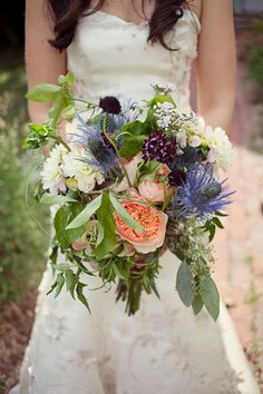 Mike + Ashley - Brooke Courtney Photography / bridal bouquet flowers / royal blue wedding / thistle and rose
