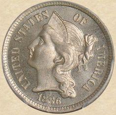 1886 Three Cent Proof Copper Nickel obverse
