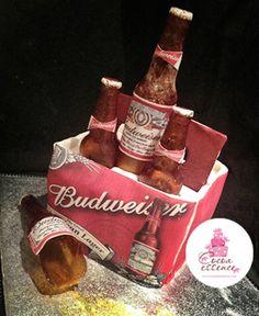 Budweiser beer pack cake with edible sugar bottles - All Edible