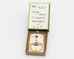 Cute Surprise Birthday Matchbox/ Greeting Card/ Gift door shop3xu