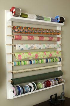 gift paper holder diy – Google Søk Sewing Room Storage, Craft Room Storage, Sewing Rooms, Wall Storage, Diy Storage, Storage Ideas, Craft Rooms, Attic Storage, Closet Storage