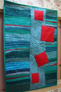 Modern Abstract art quilt wall hanging by BarbaraHarmsFiberArt Look at that Center Quilting! Patchwork Quilting, Contemporary Quilts, Contemporary Artists, Quilted Wall Hangings, Wall Hanging Quilts, Small Quilts, Free Motion Quilting, Fabric Art, Machine Quilting