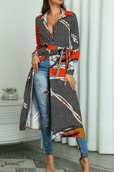 Mixed Print Long Sleeve Belted Longline Coat Women's Online Shopping Offering Huge Discounts on Dresses, Lingerie , Jumpsuits , Swimwear, Tops and More. Trend Fashion, Look Fashion, Womens Fashion, Latest Fashion, Mélanger Les Impressions, Mode Kimono, Coats For Women, Clothes For Women, Mode Boho