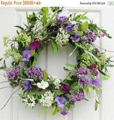 WREATH SALE Purple Floral Wreath  Summer Wreath  by Designawreath