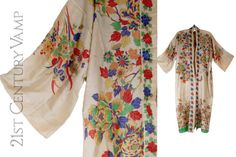 Fabulous raw silk pongee robe from the 1920s. Classic kimono style housecoat which can be worn open or closed. It has ties at the waist. It has a spectacularly vivid print of flowers, foliage and butterflies, which is quite rare to find. They are more commonly found with subdued or faded colours. Size Measured approximately 50 inches /127 cm at the bust/underarm edge to edge. It can be worn in a wrap style with the waist tie, or open. Probably suitable for S/M/L. It is a straight cut so the…