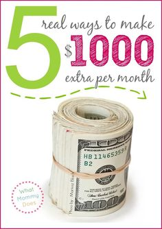 Need a way to make extra money monthly through a home business or side job? Here are 5 easy ways to make $1,000 (or more) extra per month for your family in your free time (evenings & weekends). These money making ideas come with specific number examples and explanations of how to earn money so you can apply the concepts to just about any idea.