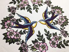 Hand pulled Lino print that has been hand painted with watercolour. Inspired by classic tattoo designs. Watercolour, Watercolor Paintings, Classic Tattoo, Two Birds, Lino Cuts, Lino Prints, Traditional Tattoo, Handmade Art, Tattoo Designs