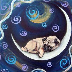 Pug Sleeping on the Moon