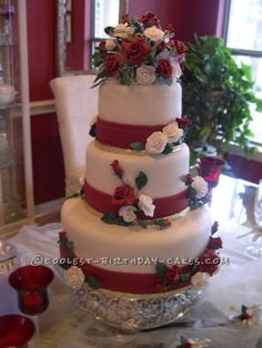 Coolest Red and White Rose Wedding Cake... This website is the Pinterest of birthday cake ideas
