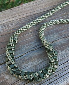 Olive Green Beaded Kumihimo Necklace by allstrungout1 on Etsy,
