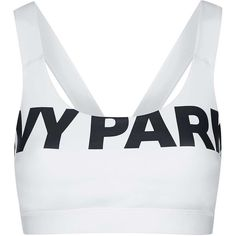 V-Back Mesh Insert Bra by Ivy Park (63 BRL) ❤ liked on Polyvore featuring activewear, sports bras, tops, workout, gym, ivy park, white, white bra top, bra top and white sports bra