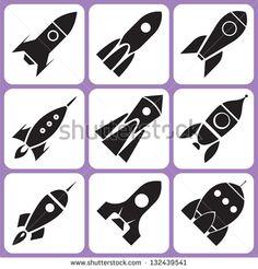rocket icon set - stock vector