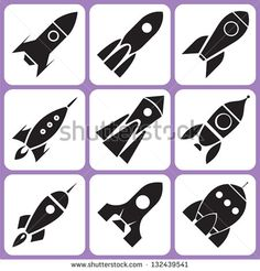 rocket icon set - stock vector