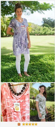 Short Sleeve Dress - Woman Dress Plus - Plussize Coverup - V Neck #etsyfashion #TIntegrityT #etsyspecialt @EarthRT Dress - Beach Dress - Hand Painted Dress - Hawaii Clothes - Cotton Dress https://www.etsy.com/listing/467519869/