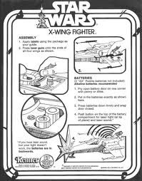 Information- This guide to assembling a star wars x-wing fighter has all the steps laid out in a very easy to read way. The black and white diagrams give a retro feel to the instructions.