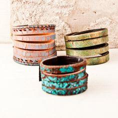Jewelry Lot Leather Cuffs Bracelets by rainwheel, $45.00