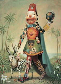 Mark Ryden, Swap Meet Man...the reason i like this is the margaret keane big-eyed child and dog on the skirt. i have a m. keane original print in my kitchen.