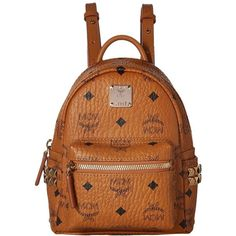 MCM Stark Side Stud Mini Backpack (Cognac) Backpack Bags ($670) ❤ liked on Polyvore featuring bags, backpacks, mcm bags, mini bag, strap backpack, brown bag and studded bag