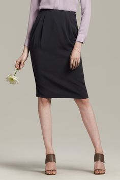 The Williamsburg skirt is a longer, saucier take on the classic pencil shape. Hitting high on the waist, it creates a lovely hourglass silhouette.