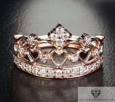 Rose Gold Crown Ring Diamond Pave Exclusive