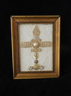 Beautiful Jeweled Gold Cross by Jewellady82 on Etsy