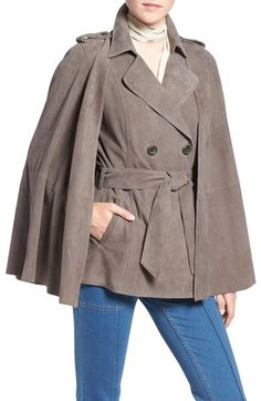 Olivia Palermo + Chelsea28 Suede Trench Vest with Removable Cape available at…
