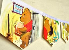 Winnie the Pooh meets Gopher: Vintage Little Golden Book Bunting Banner Paper Children Repurposed Decoration eco friendly gift