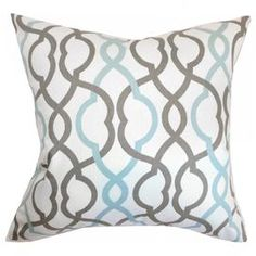 "Cotton pillow with a down fill and linked trellis motif. Made in the USA.     Product: PillowConstruction Material: Cotton cover and down fillColor: Blue, brown and whiteFeatures:  Insert includedHidden zipper closure Dimensions: 18"" x 18""Cleaning and Care: Spot clean"