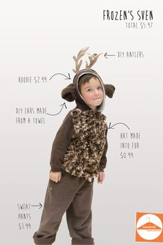 DIY Sven from Frozen from Goodwill items Diy Reindeer Costume, Deer Halloween Costumes, Olaf Costume, Christmas Costumes, Rudolph Costume, Bambi Costume, Maleficent Costume, Cowgirl Costume, Deer Costume For Kids
